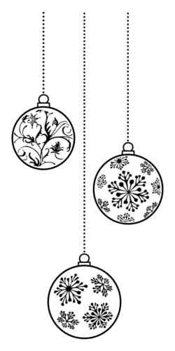 X510C Three Baubles - Wood Mounted Stamp